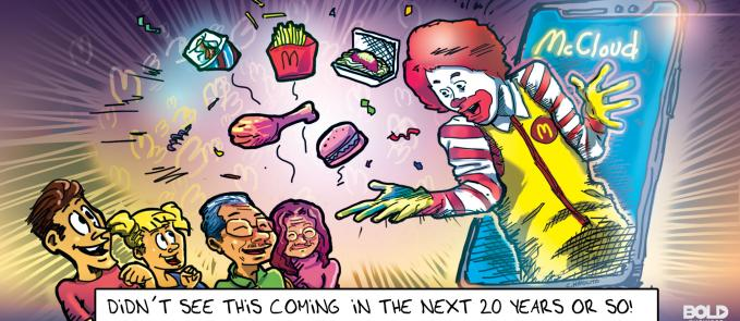 cartoon of Ronald McDonald and various McDonald's meals coming out of a giant smartphone's screen (depicting the company's new business strategy) while a family of four looks in excitement at him