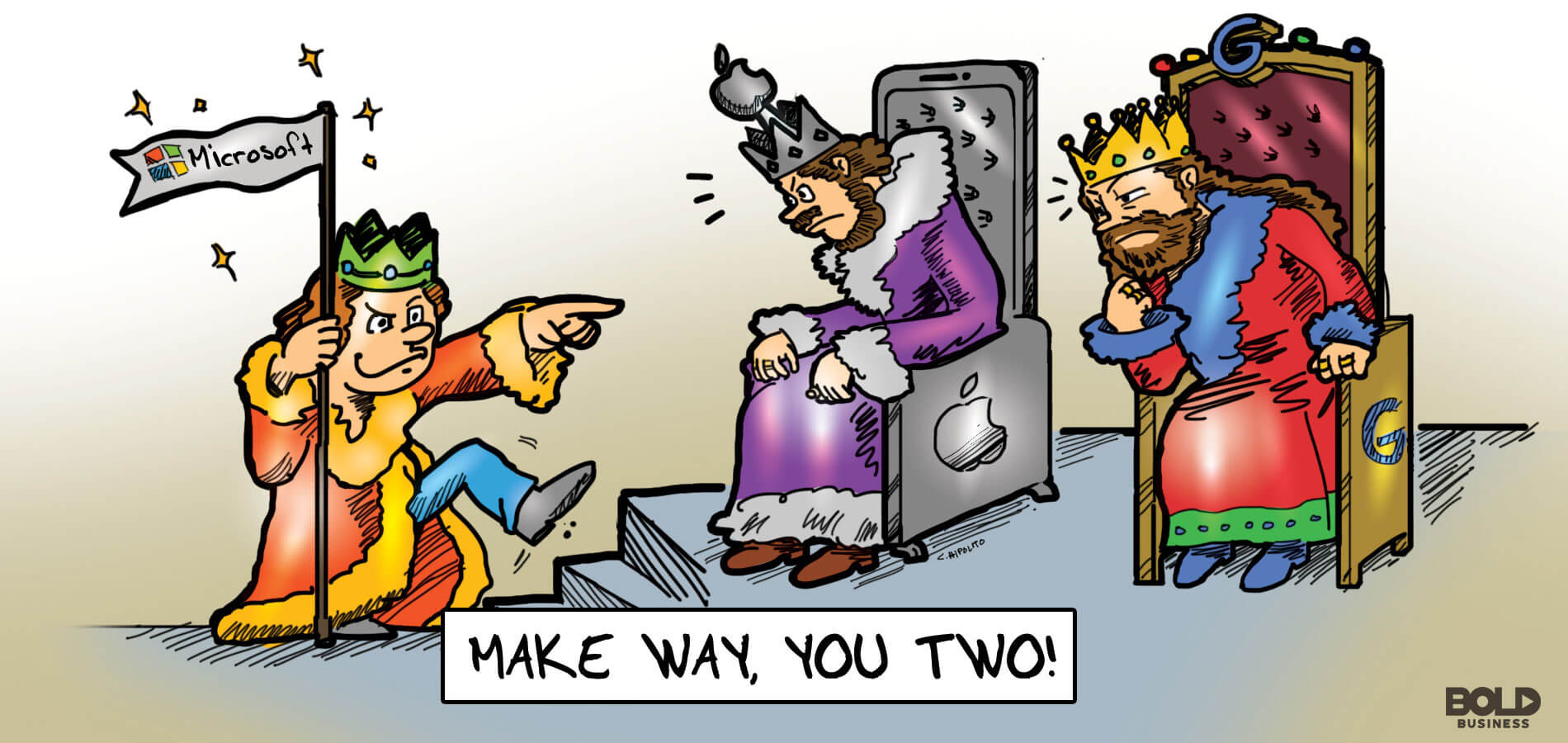 cartoon of a Microsoft King shooing away Apple King and Google King in the battle of Microsoft revenues