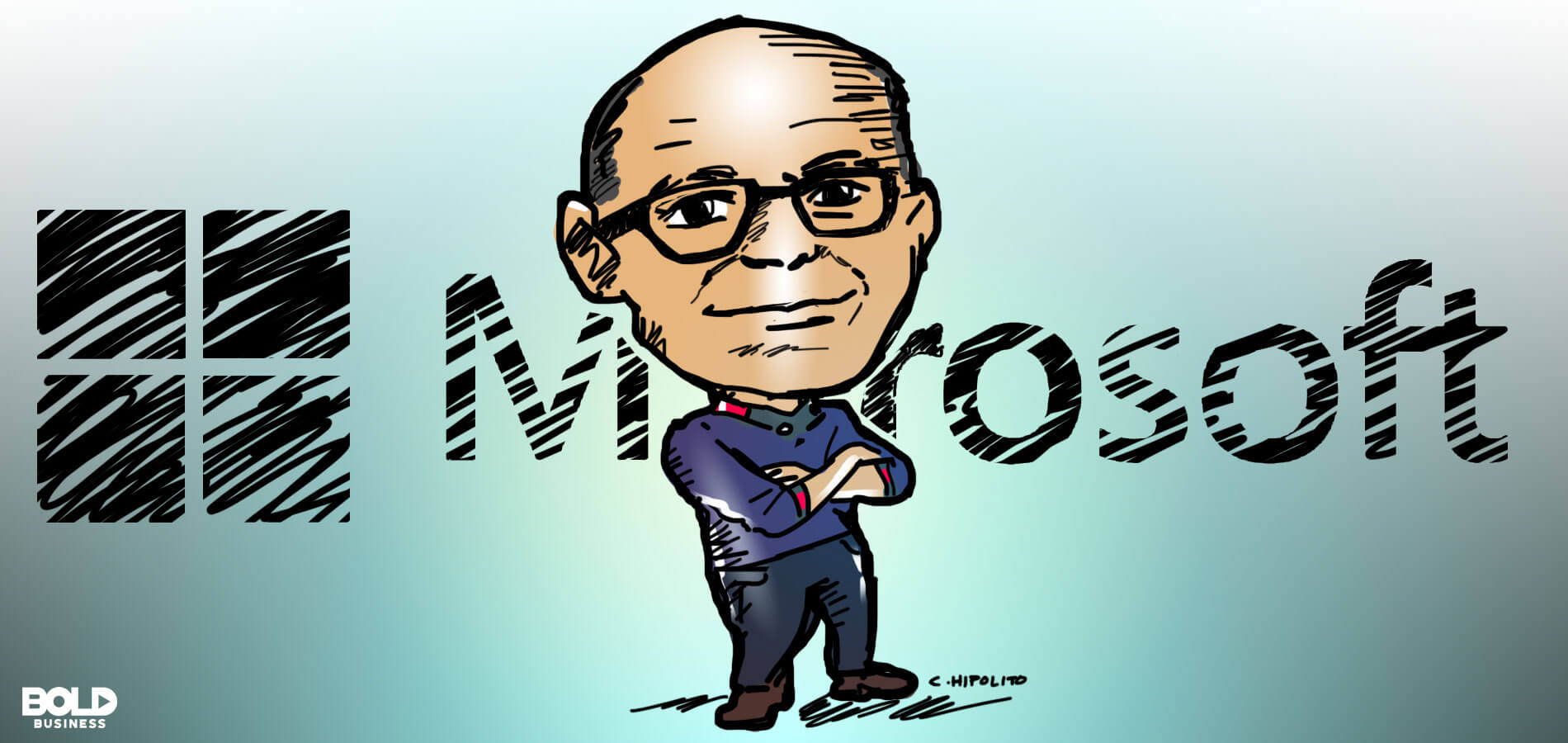 cartoon caricature of Satya Nadella, CEO of Microsoft, posing as the bold leader spotlight of the week