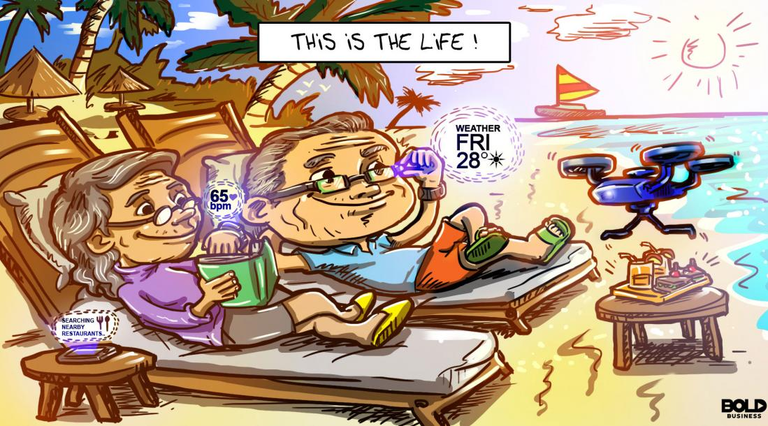 cartoon of two seniors using technology while lounging on beach chairs by the seashore