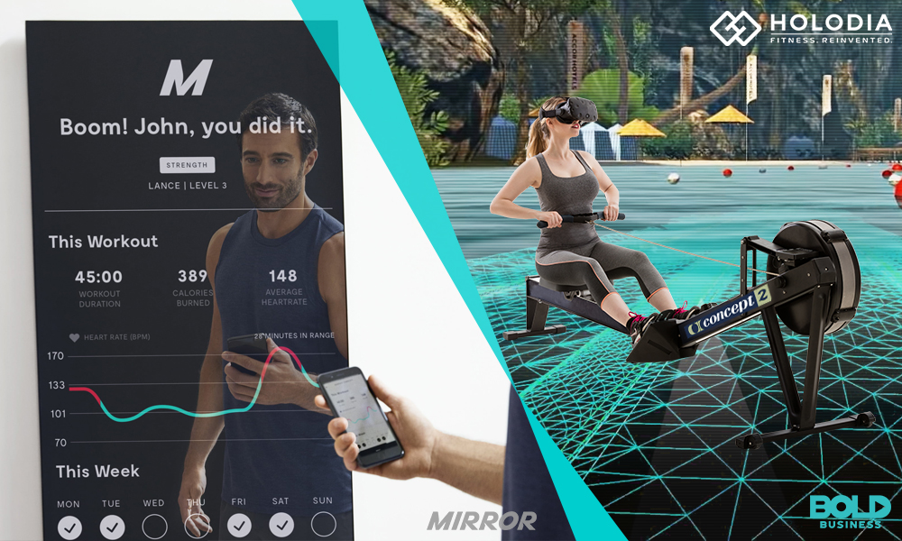 a man holding a phone and a woman exercising using fitness technology in their workout