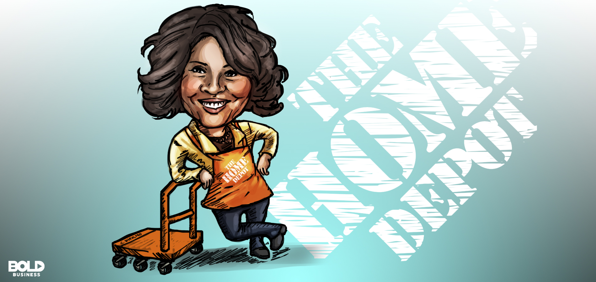Cartoon of Bold Leader Ann Marie Campbell of Home Depot leaning on a trolley.