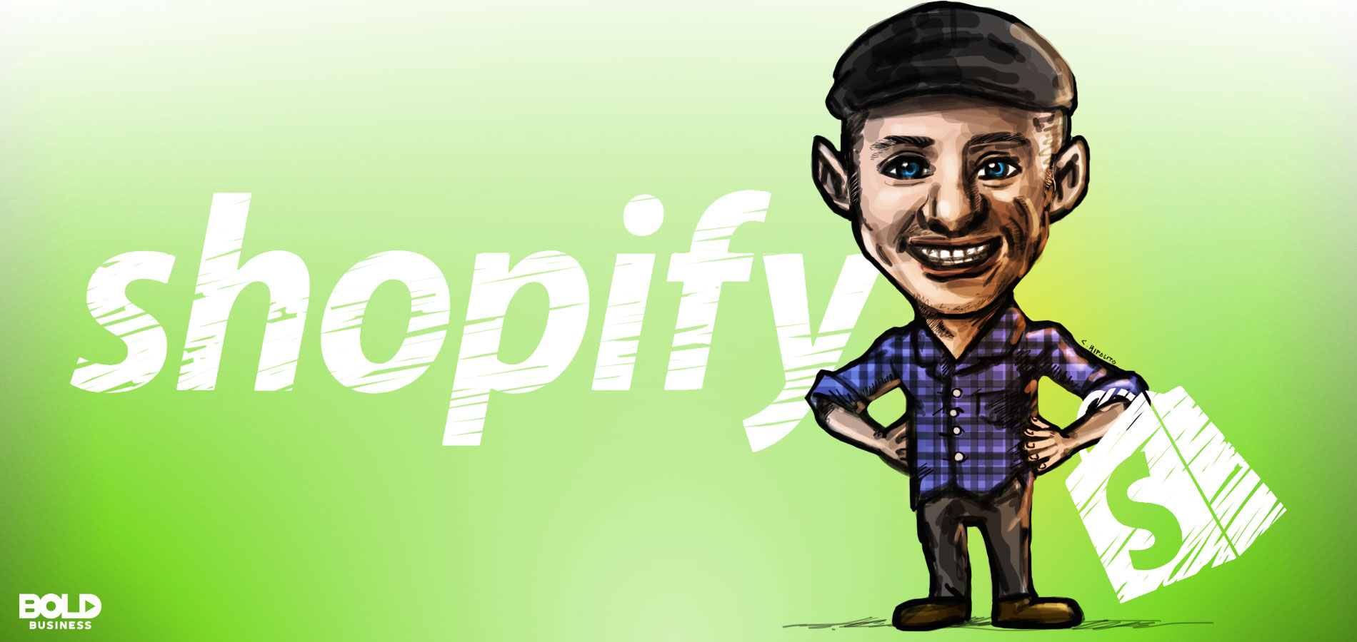 cartoon of tobias lutke, founder and ceo of shopify