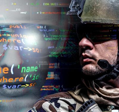 U.S. Marine Corps Cyber Command and Marine on duty