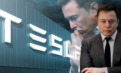 a photo of Elon Musk thinking in front of the logo of Tesla
