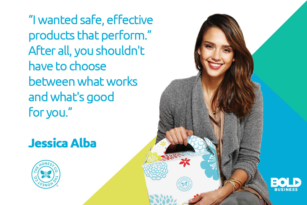 a photo quote of Jessica Alba as the bold leader spotlight of the week talking about her goal with The Honest Company
