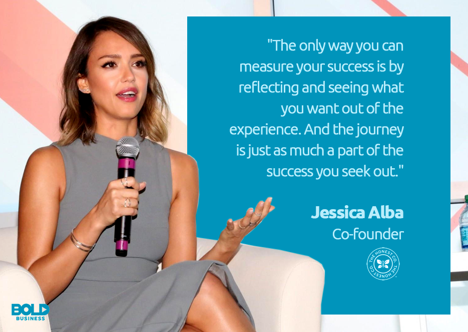 a photo quote of bold leader Jessica Alba talking about success and The Honest Company