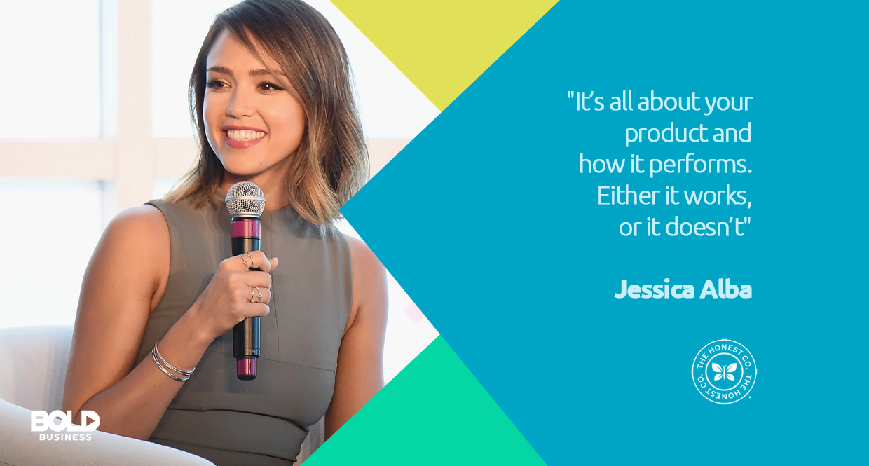 Jessica Alba explaining how company performance is tied to product development and honest company shampoo