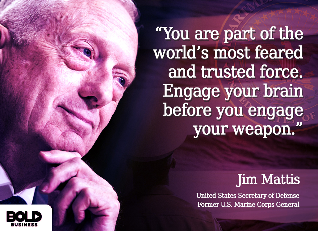 Jim Mattis Secretary of Defense Discussing Bold Leadership in the Marine Corps