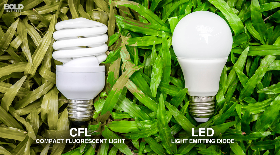 a photo of two light bulbs side by side -CFL-and-LED- in the Evolution of Lighting