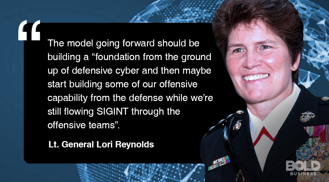 Lt. Gen Reynolds discussing the Marine Corps Cyberspace Command