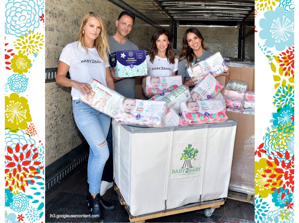 Nick Vlahos with Jessica Alba and two others joining the Healthy Food Revolution distributing honest company diapers