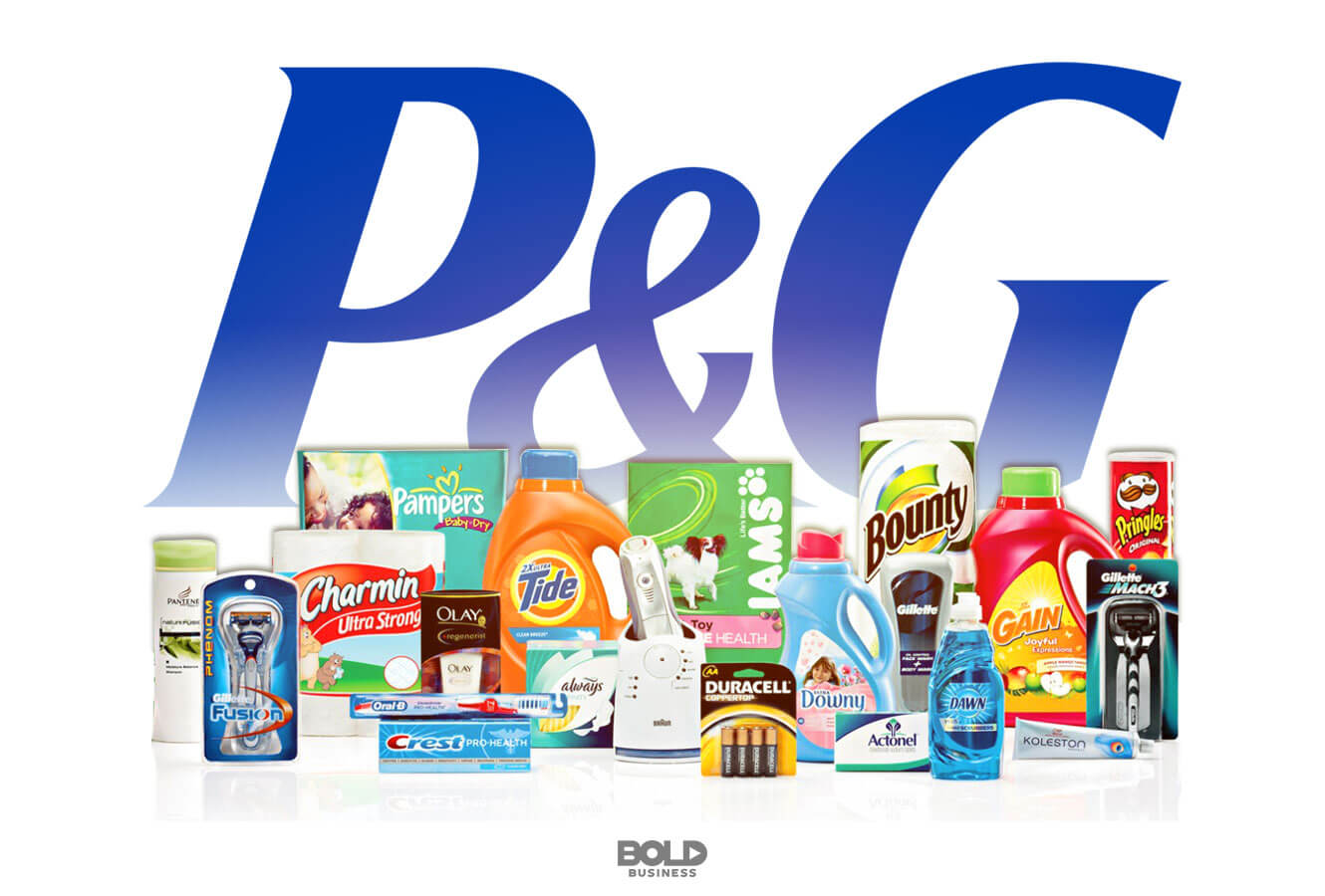 logo of P&G with a display of its products in front, what will be the next procter and gamble innovation strategy?