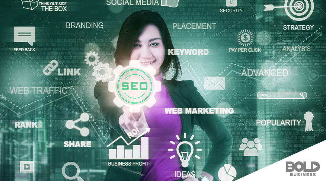 woman pointing at SEO surrounded by words pertaining to seo strategies