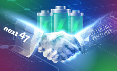 a photo of a handshake superimposed on a photo of three batteries that support the advances of the battery specialist, Sila Nanotechnologies
