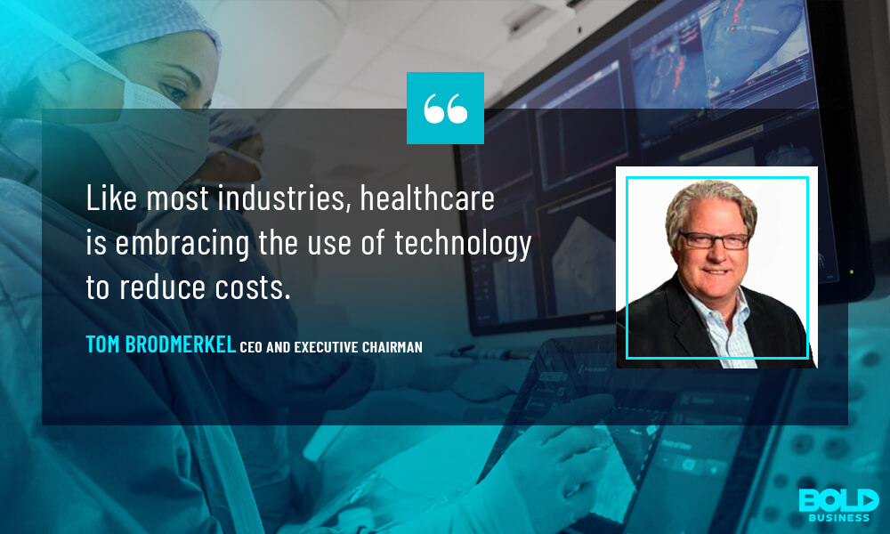 a photo quote from Tom Brodmerkel on the electronic health record system and its impact on the medical record system