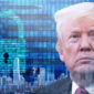 a photo of President Trump's face while thinking about the Trump cybersecurity policy while behind him is a digital lock superimposed a picture of the New York skyline