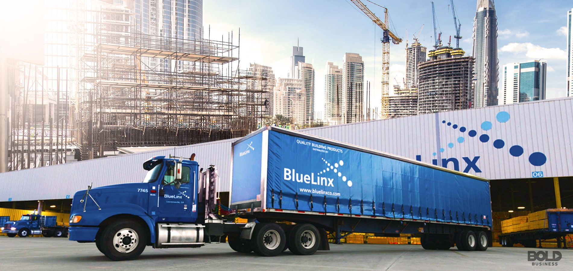BlueLinx Building Supplies Truck with smart cities in background