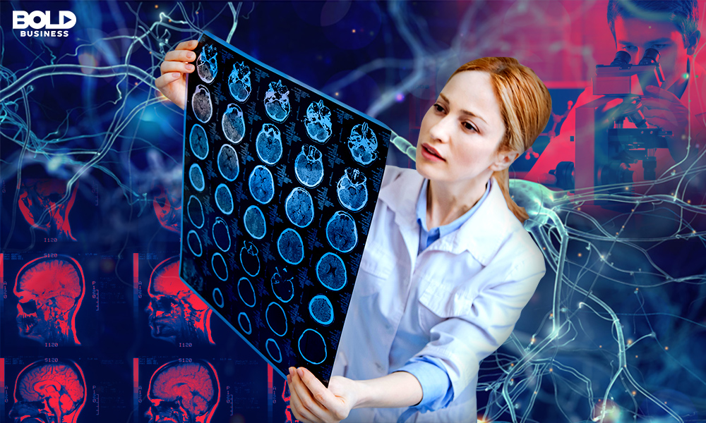 Doctor Holding a Brain Scan X-ray practicing Neuromedicine