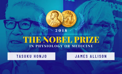 the names and photos of the Nobel Prize winners in Science this 2018, Jim Allison and Tasuku Honjo