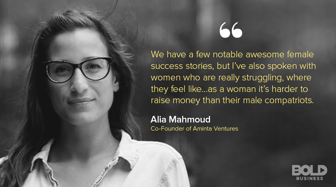 A photo quote of Alia Mahmoud talking about Venture Capital for Female Entrepreneurs