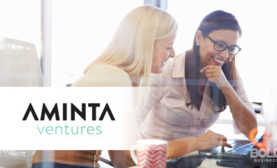 A photo of the company name of Aminta Ventures set in front of two women talking about Venture Capital for Female Entrepreneurs
