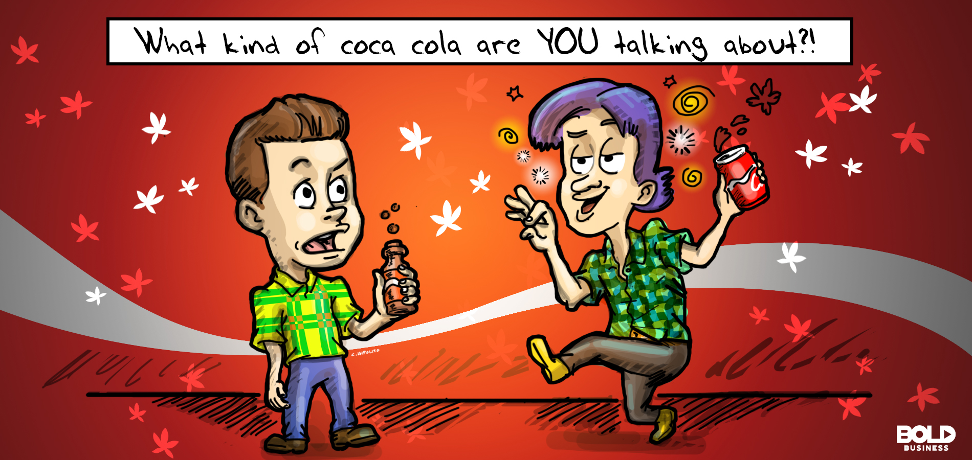 A cartoon of two males drinking products infused with the marijuana provided by the company, Aurora Cannabis