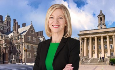 amy gutmann with the facade of upenn on the background