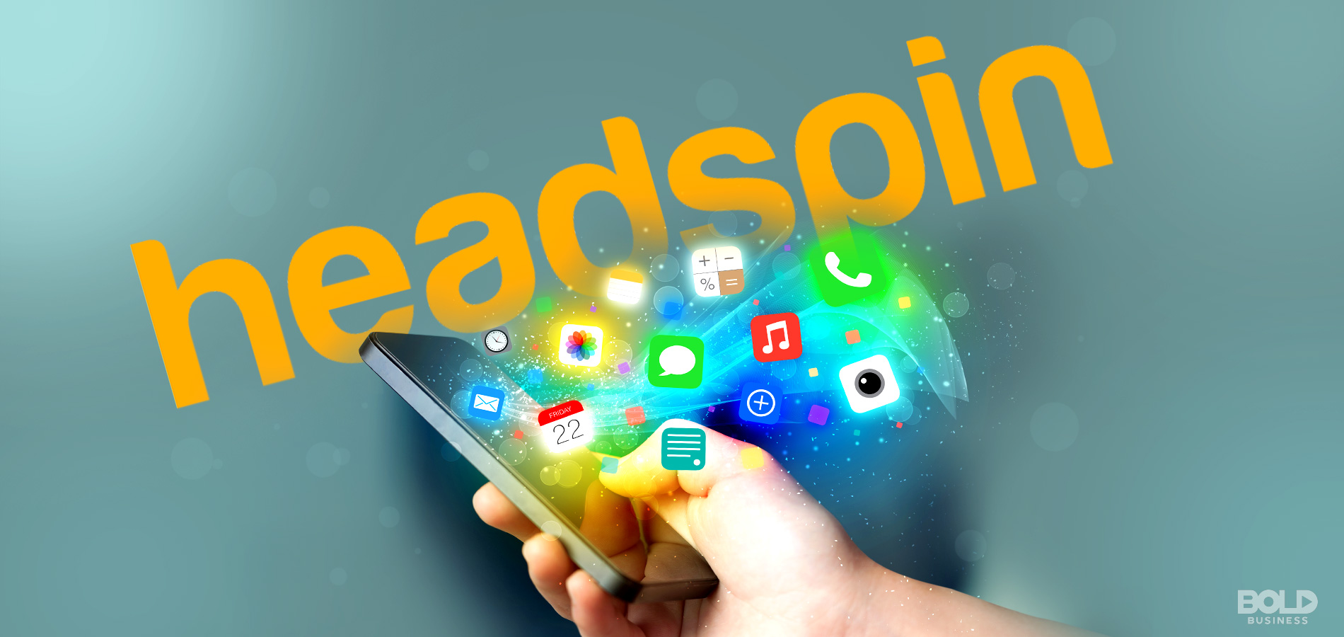Headspin Inc. logo with apps coming out of the smartphone