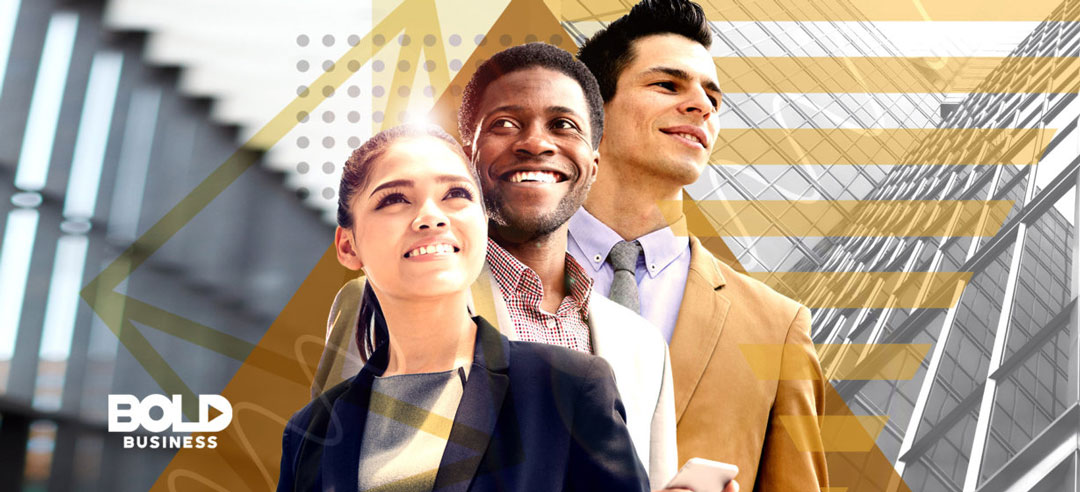 A young woman and two men posing amidst the fact that Millennials in the Workplace are Shaping Businesses and Leadership