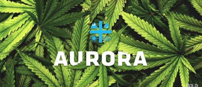 a photo of marijuana leaves and the logo of the company, Aurora Cannabis
