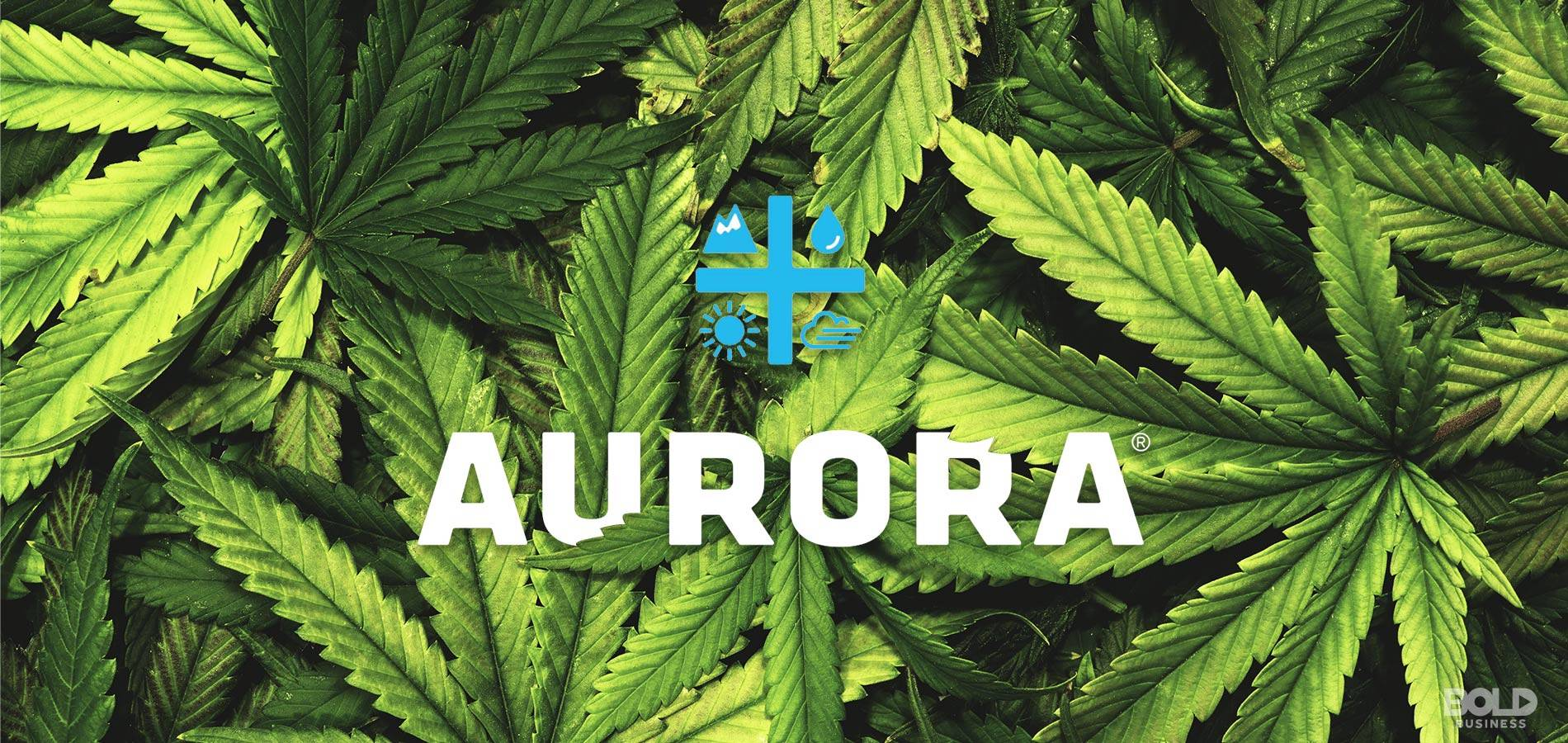a photo of marijuana leaves and the logo of the company, Aurora Cannabis