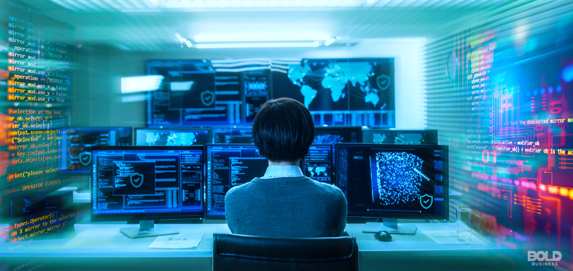 A photo of a woman's back while she focuses on multiple monitor screens in front of her, being one of the leaders in cybersecurity