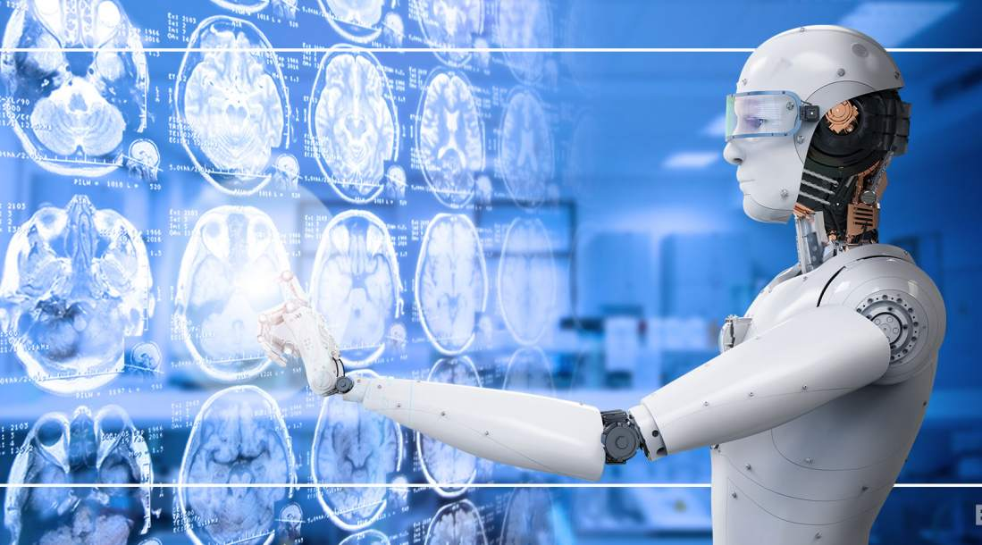 neuroradiology ai pointing at mri scan results