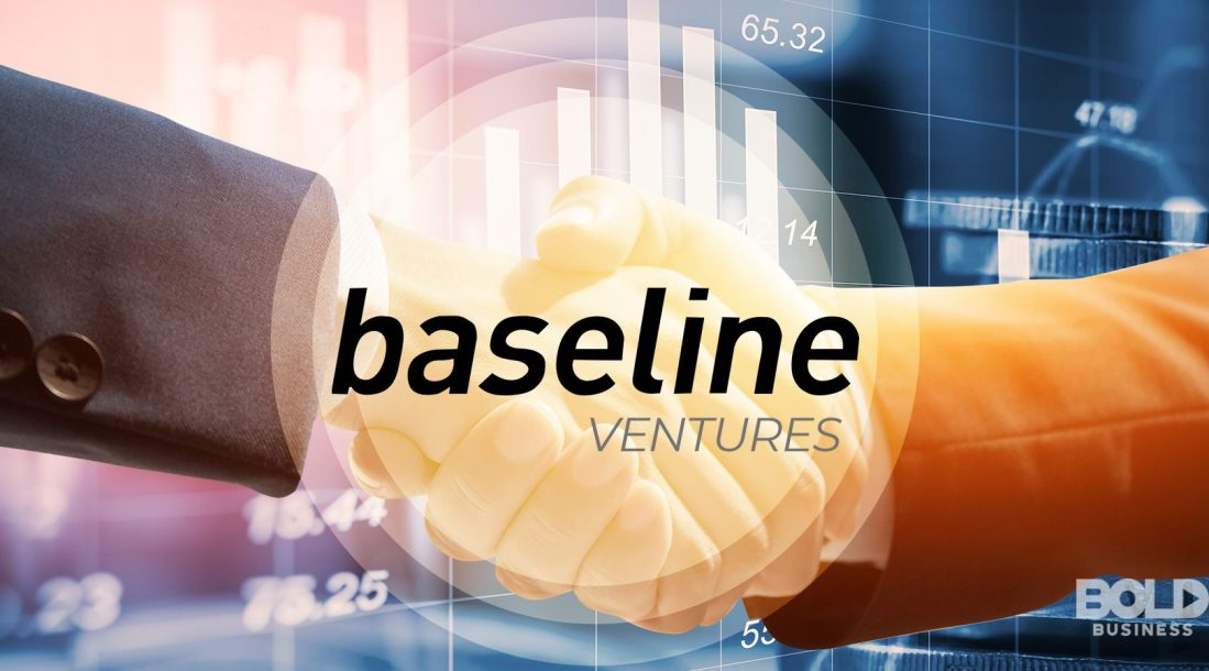 An image of the Baseline Ventures logo in front of a handshake