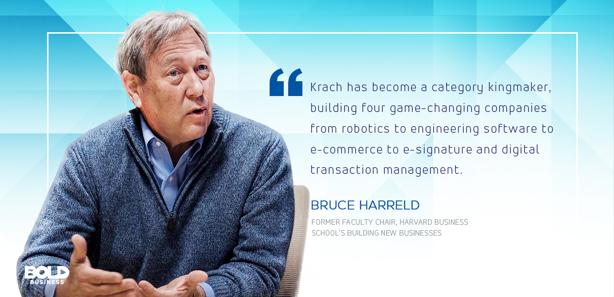 a photo quote from Bruce Harreld about Keith Krach and his bold leadership