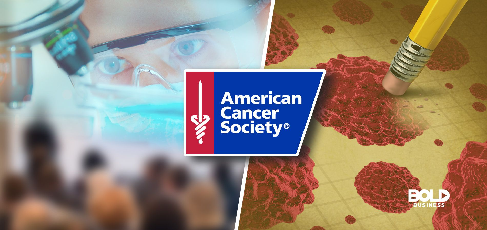 cancer mortality rate, scientist on the left and cancer cells being erased on the right, acs logo in the middle