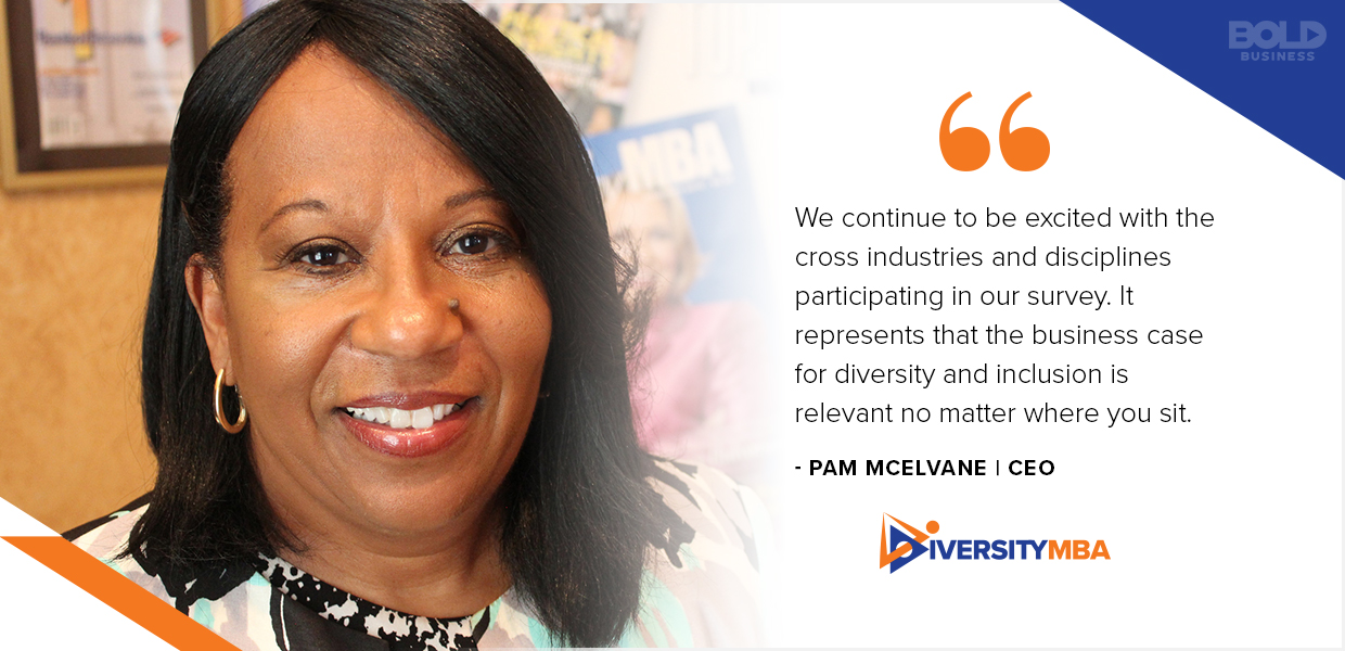 A photo quote from PAM MCELVANE about the Diversity MBA conference that features diversity and inclusion