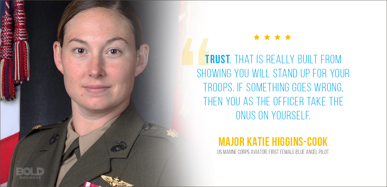 Major Katie Higgins Cook first female blue angels pilot quoted on trust