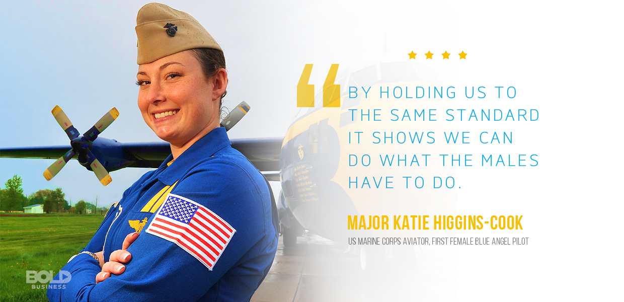 female blue angels pilot katie higgins cook in a side view photo