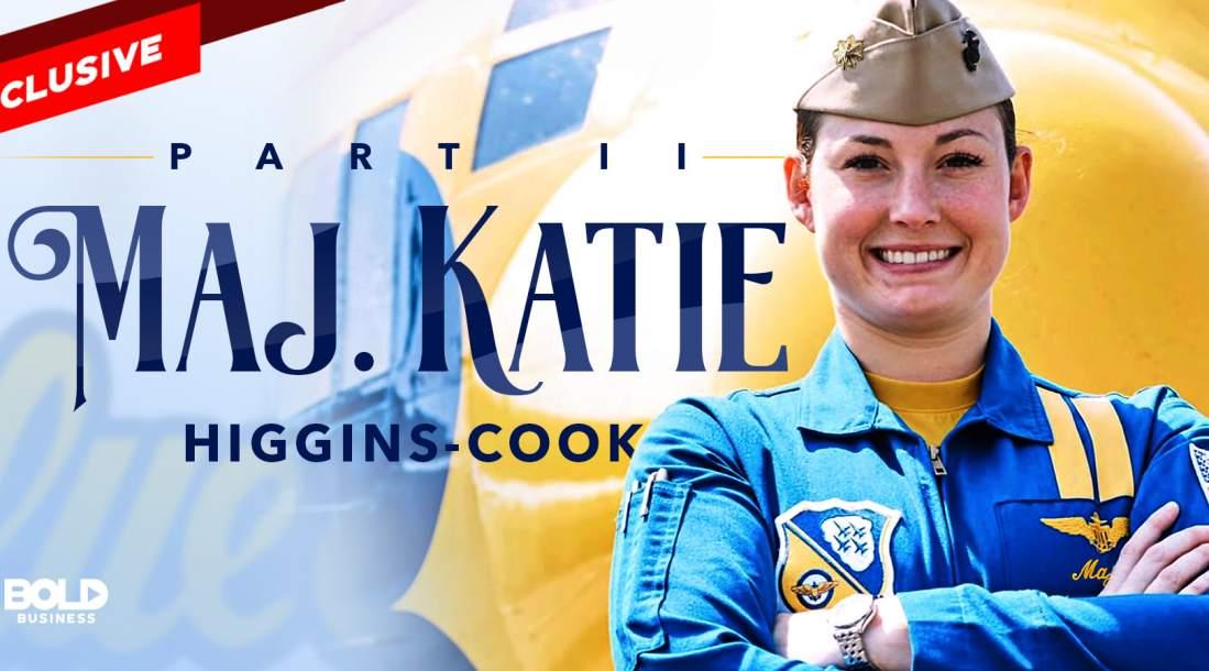 katie higgins cook in her blue angels uniform
