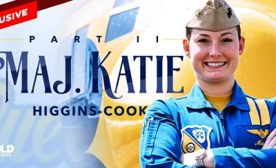katie higgins cook in her blue angels uniform