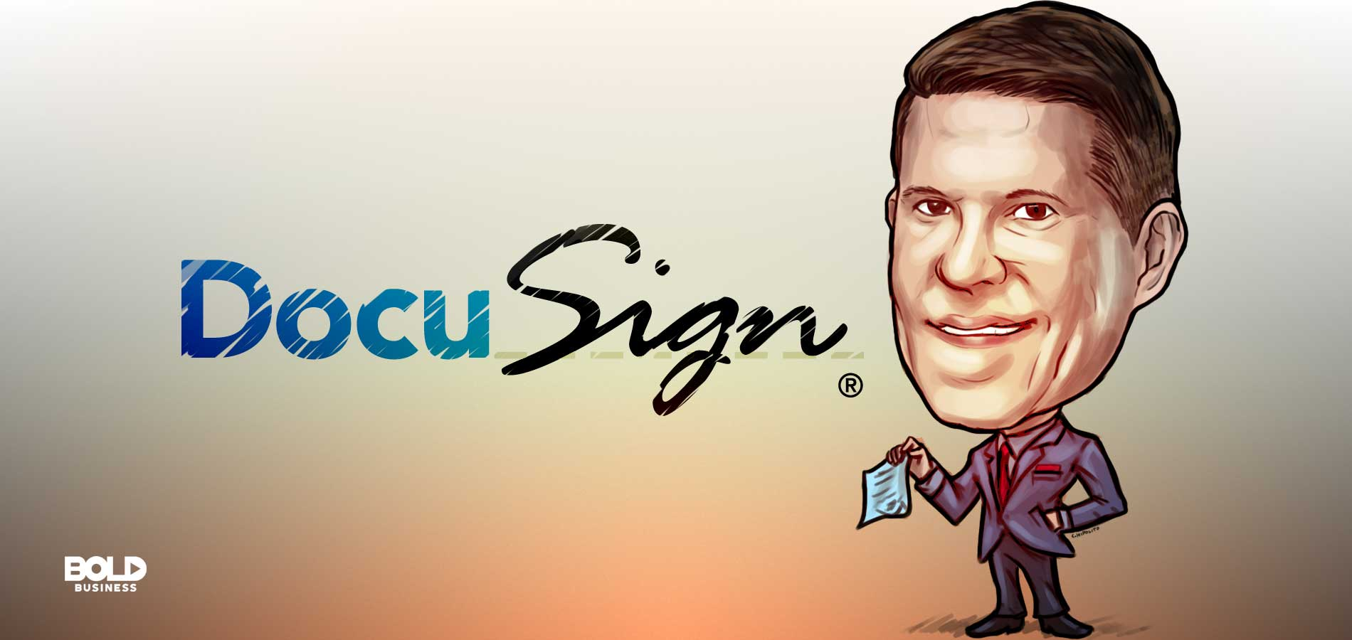 a caricature of Keith Krach, former DocuSign CEO, standing beside the logo of DocuSign