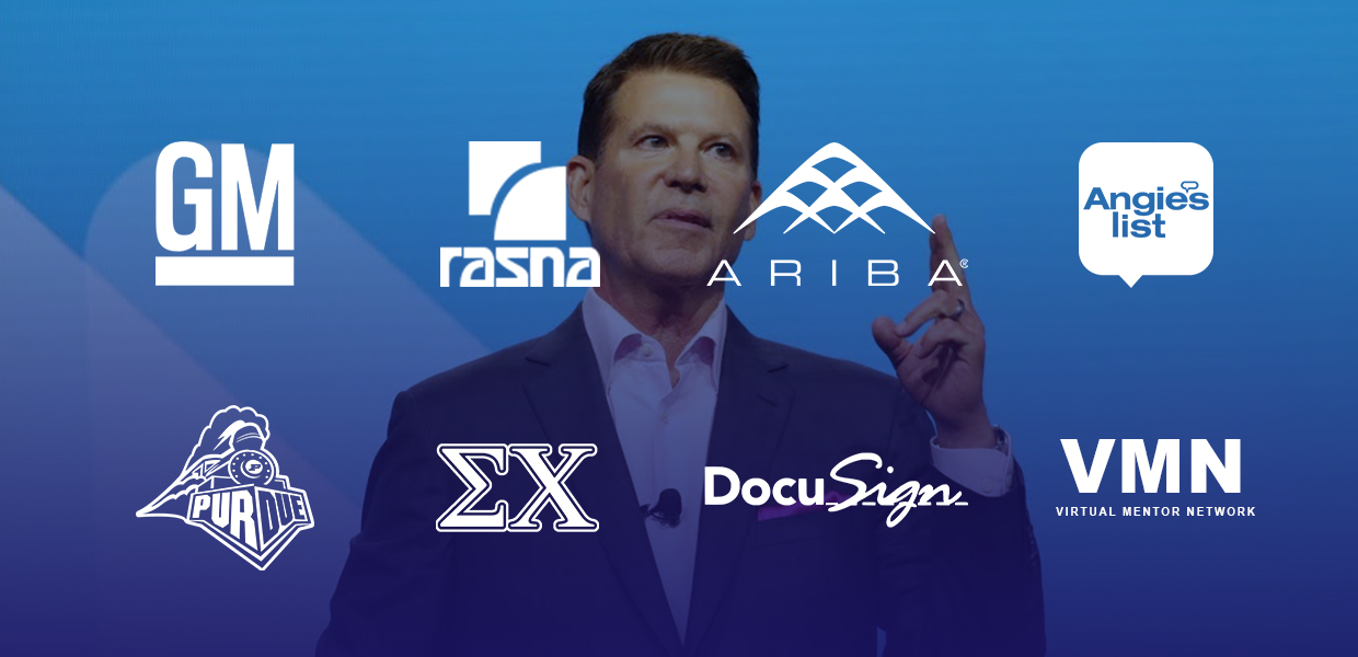 a photo of bold leader Keith Krach surrounded by the logos of companies he has made a bold impact on