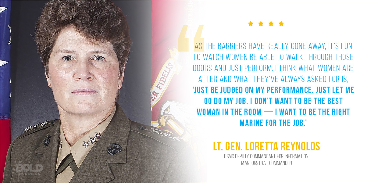 Lt. General Reynolds discusses female leadership in the Marine Corps