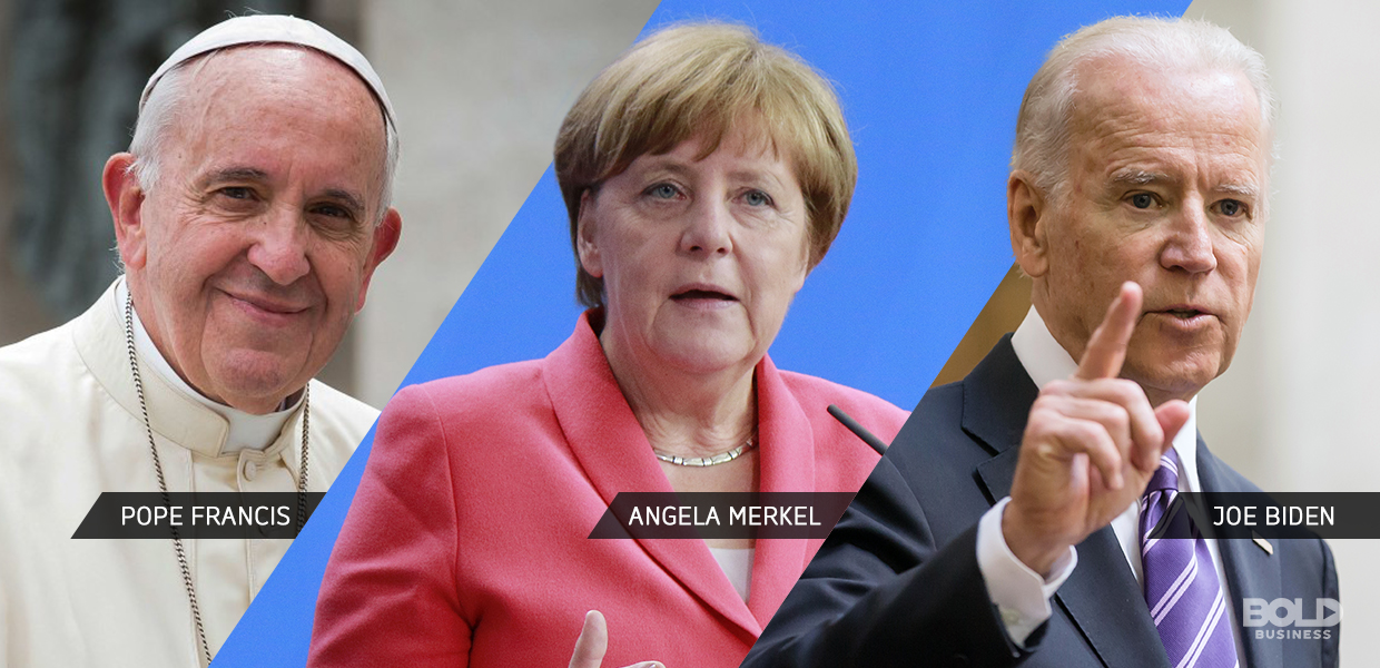 tryptic of pope francis, angela merkel and joe biden