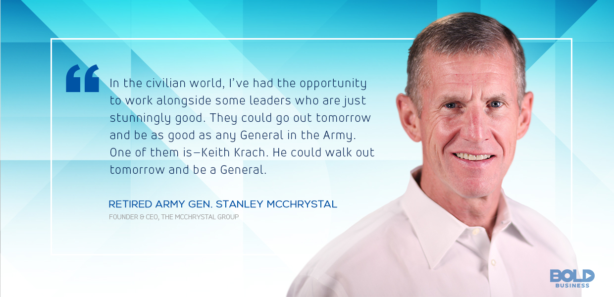 a photo quote from Retired Army Gen. Stanley McChrystal on Keith Krach