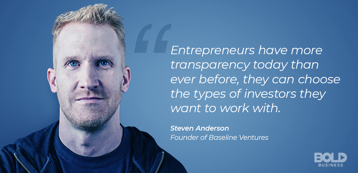 A photo quote of Steven Anderson, founder and owner of Baseline Ventures