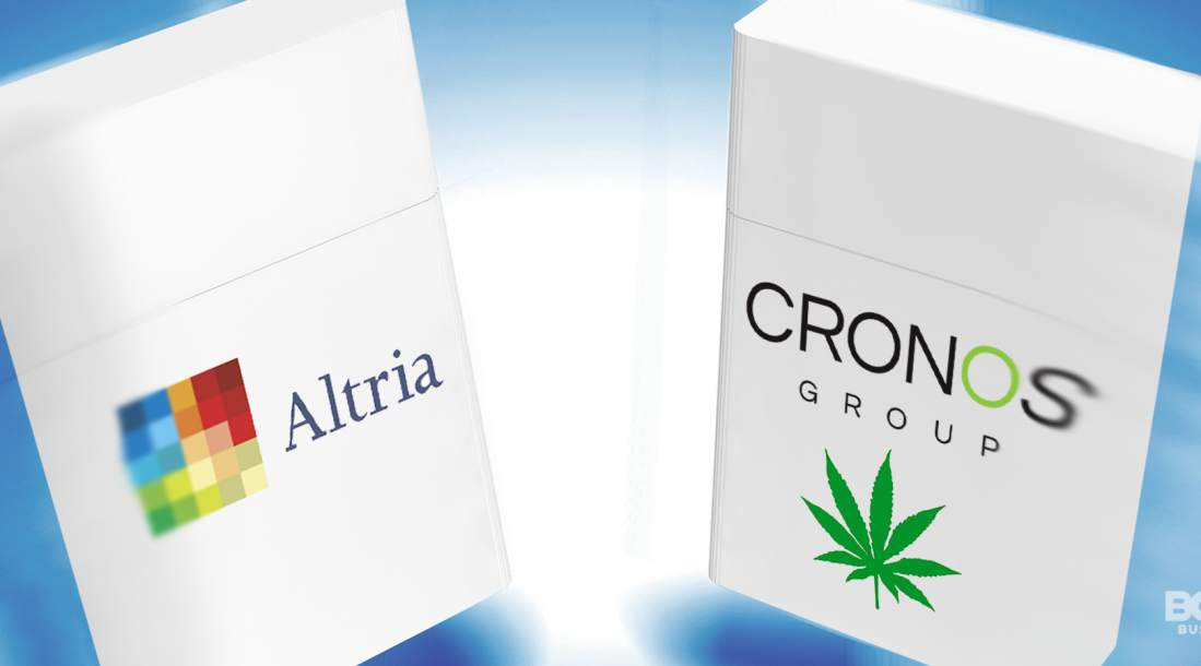 a photo of the logos of the companies involved in the Altria's investment in the Cronos company