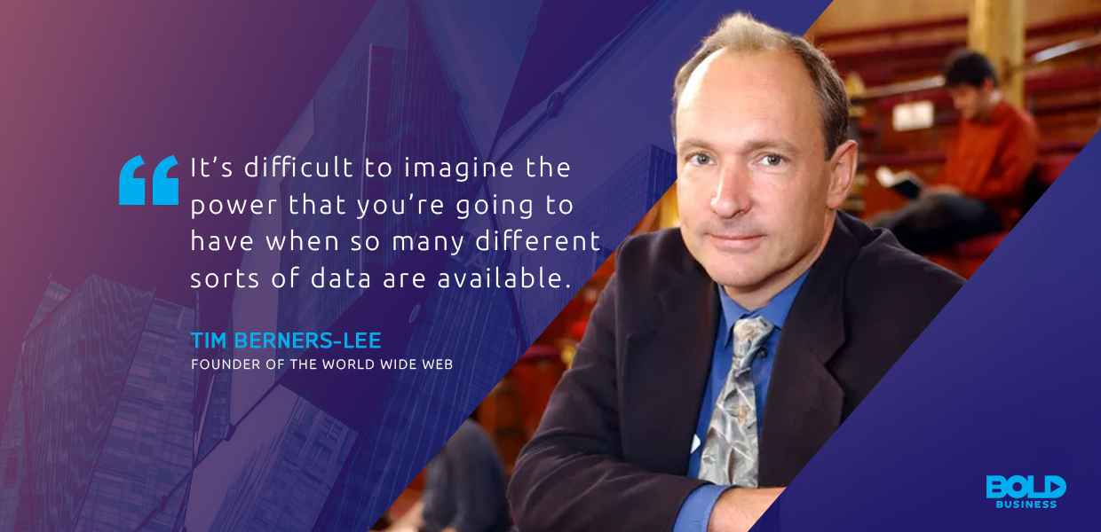 a photo quote of Tim Berners-Lee in connection to what it means to be a data-driven company in today's world